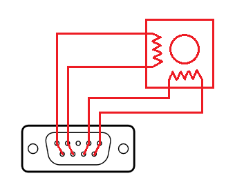 Stepper motor connection (DB9 socket pinout)