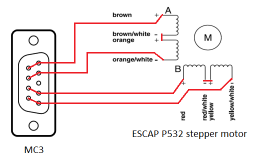 Recommended motor connection for Escap motors