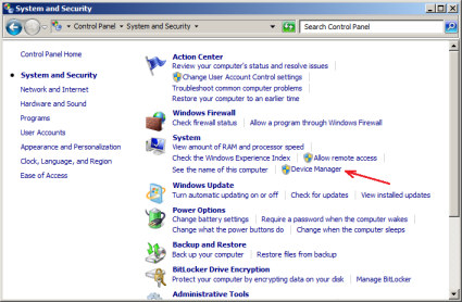 Windows 7 System and Security panel of the Control Panel